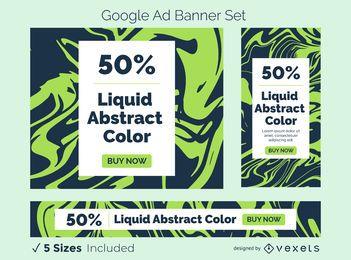 Conjunto de banner de anúncio abstrato líquido
