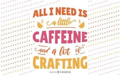 Desenho de letras de artesanato e café