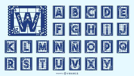 Conjunto de letras do alfabeto mexicano Papel Picado