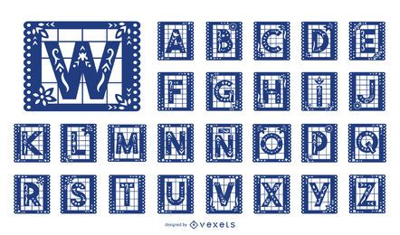Mexikanischer Papel Picado Alphabet Buchstabensatz