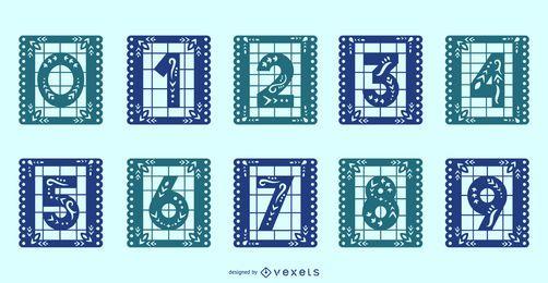 Conjunto de números de alfabeto de Papel Picado mexicano