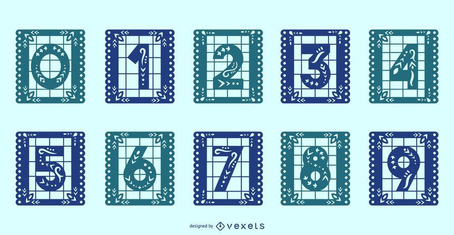 Conjunto de números de alfabeto mexicano de Papel Picado