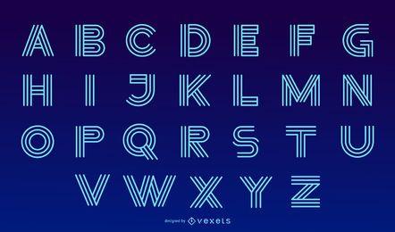 Conjunto de Design de letra de alfabeto moderno de néon