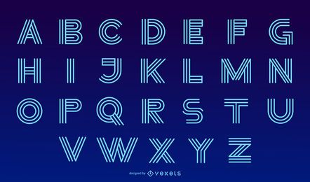 Modernes Alphabet-Briefgestaltungs-Neonset