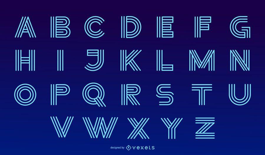 Neon Modern Alphabet Letter Design Set