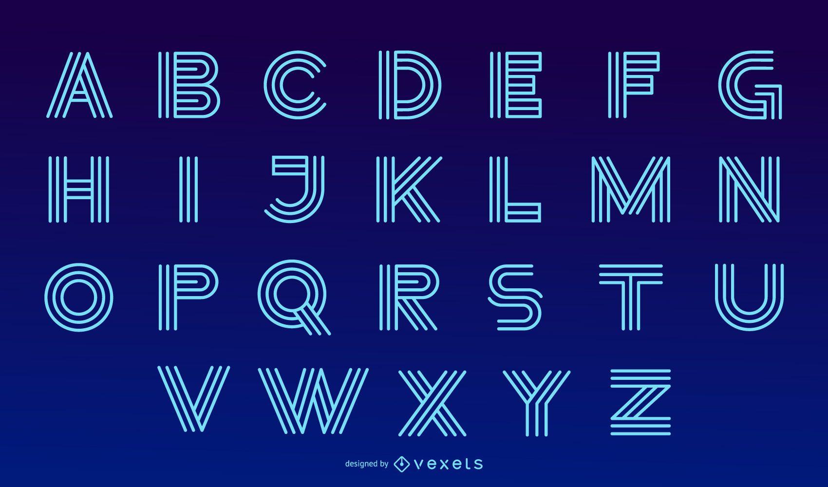 Conjunto de desenho de letras do alfabeto moderno de néon