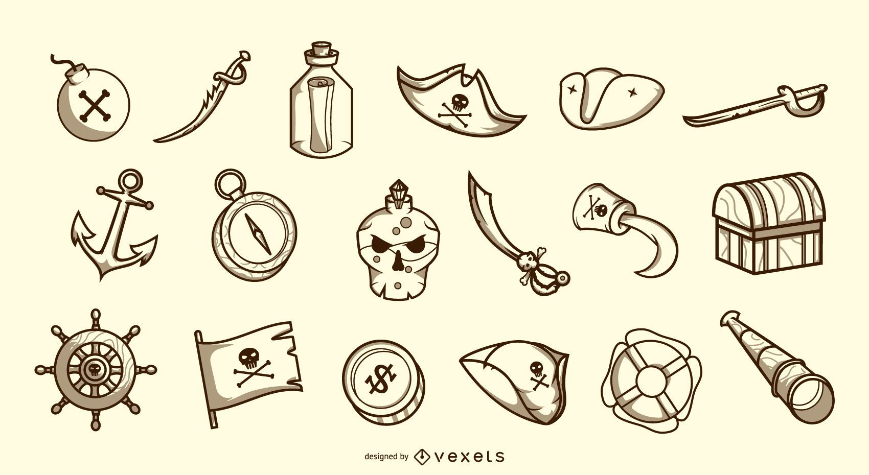 Colección duotono de elementos piratas