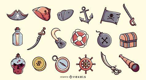 Colección de ilustraciones de elementos piratas