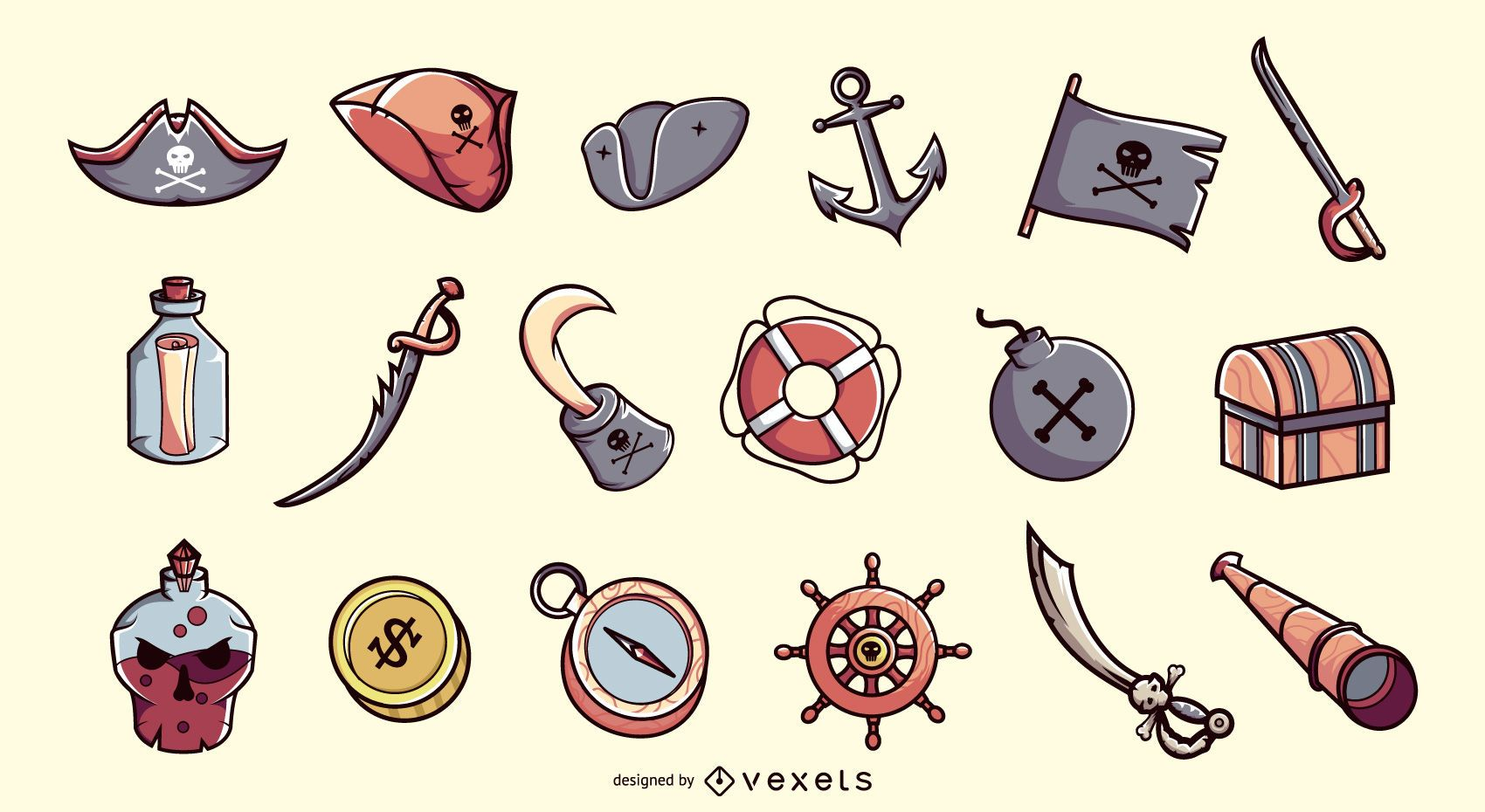 Pirate elements illustration collection