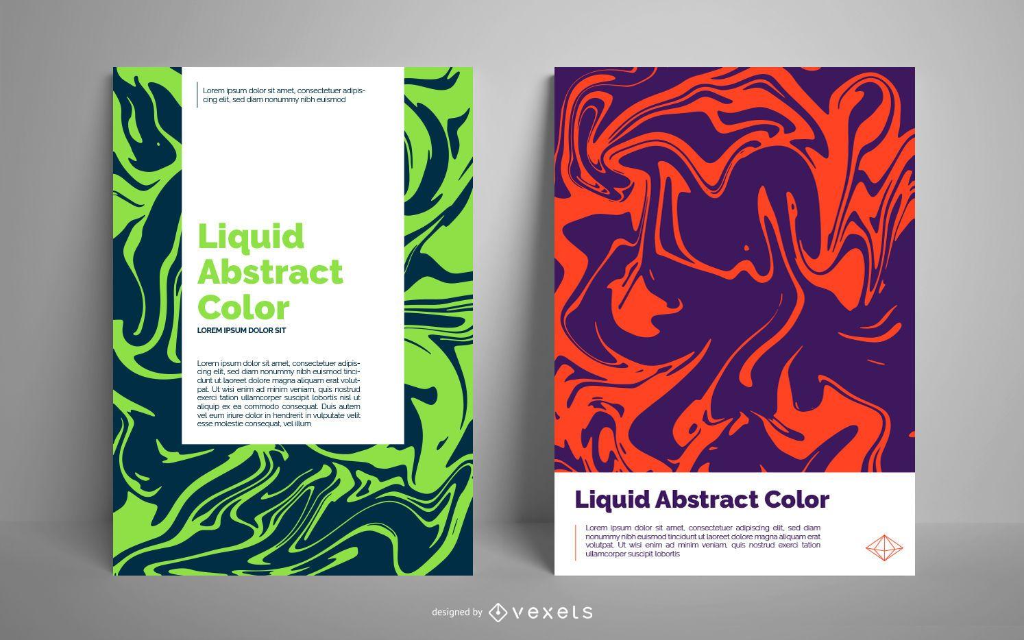 Modelo de pôster abstrato líquido