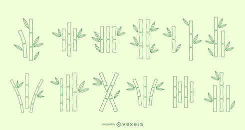 Bamboo line vector set