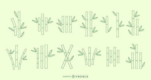 Conjunto de vectores de línea de bambú