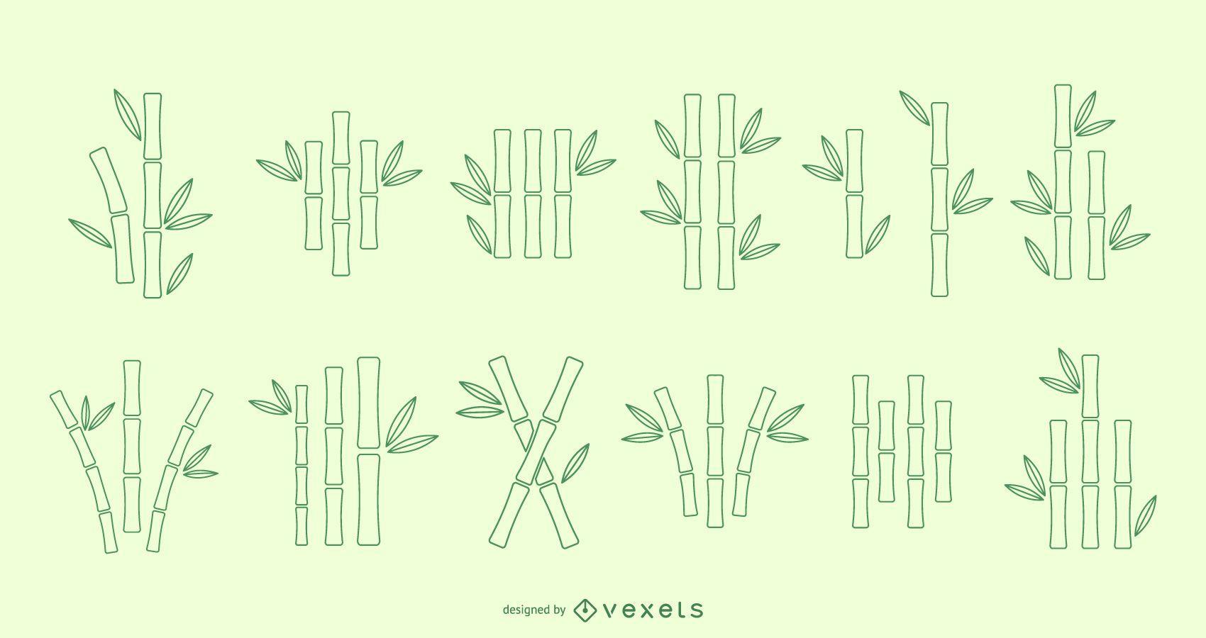 Bamboo line vector set