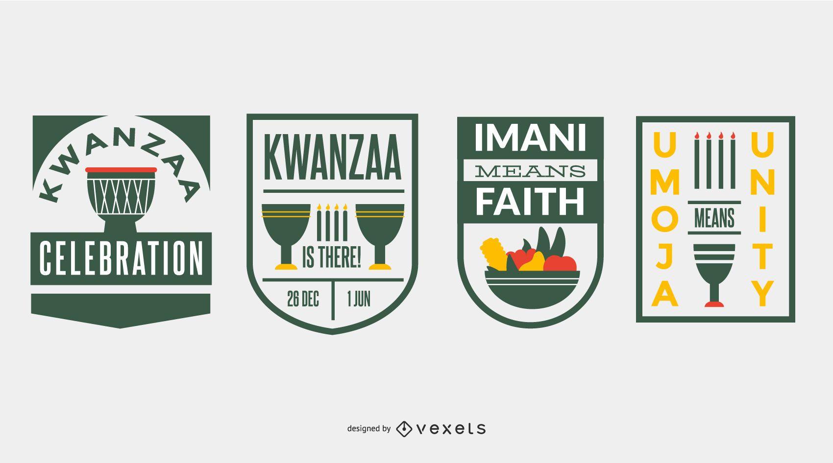 Kwanzaa badges set