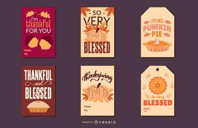 Pacote de cartões de ação de graças