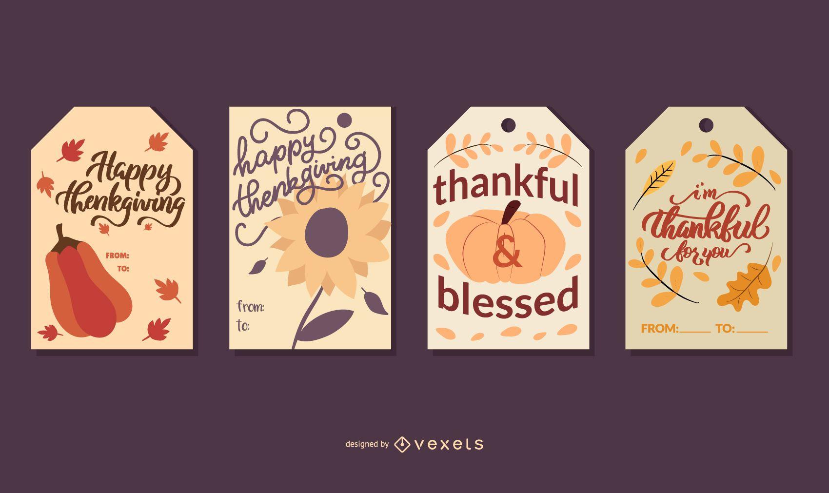 Conjunto de tarjetas de acción de gracias