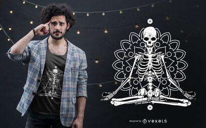 Diseño de camiseta de mandala Chakra esqueleto