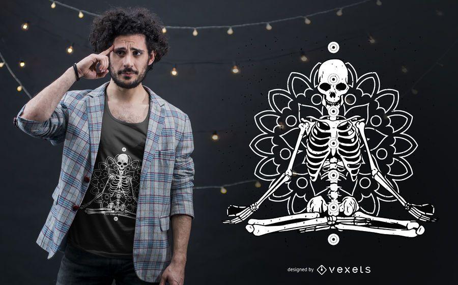 Design de esqueleto do t-shirt da mandala de Chakra