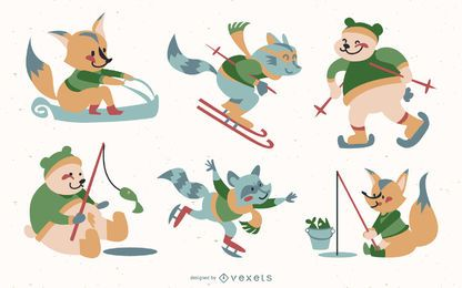 Animals winter holidays set