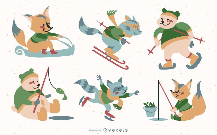 Conjunto de férias de inverno de animais