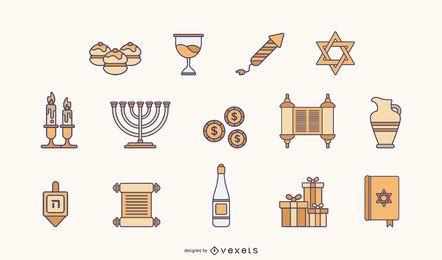 Pacote de elementos planos de Hanukkah