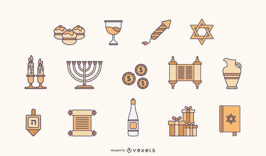 Hanukkah flat elements pack
