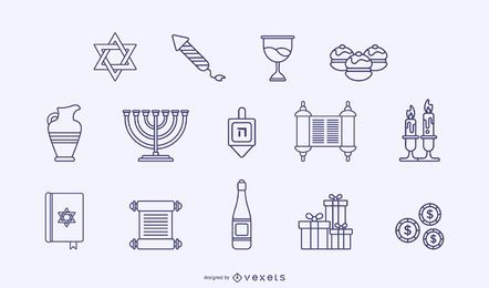 Hanukkah stroke elements pack