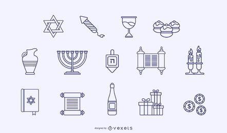 Paquete de elementos de trazo de Hanukkah