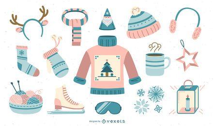 Colección plana de elementos de invierno