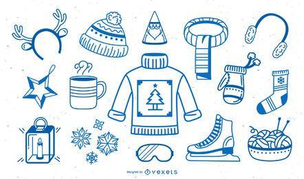 Coleção de traçado de elementos de inverno