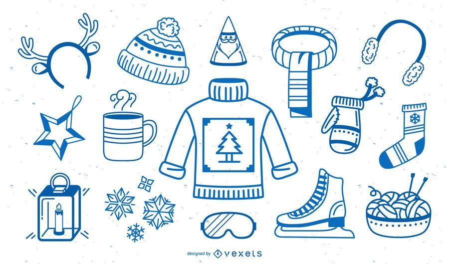 Colección de trazos de elementos de invierno