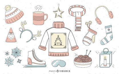 Colección offset de elementos de invierno