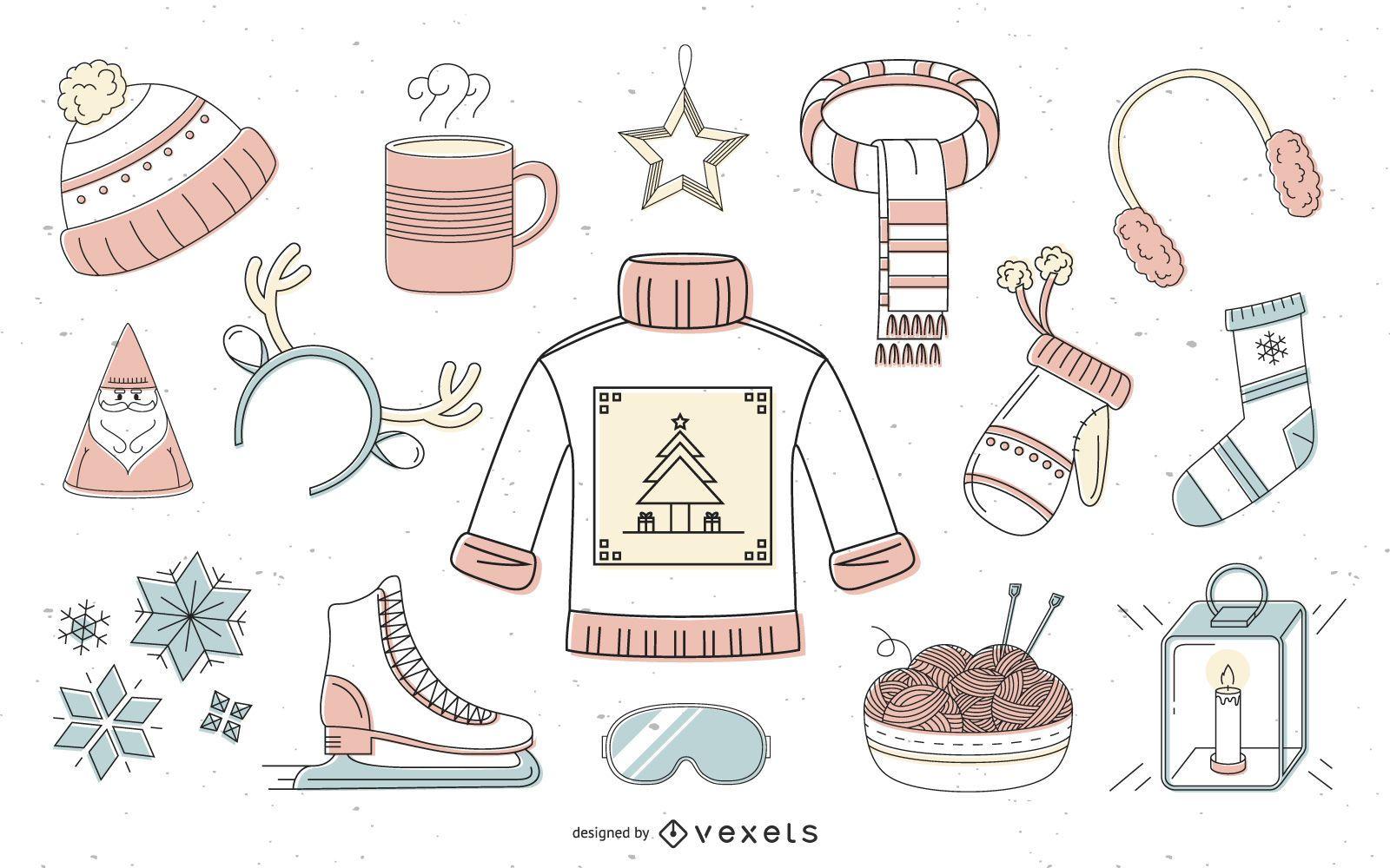 Colección offset elementos de invierno