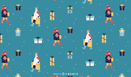 Diseño de patrón de regalos de invierno