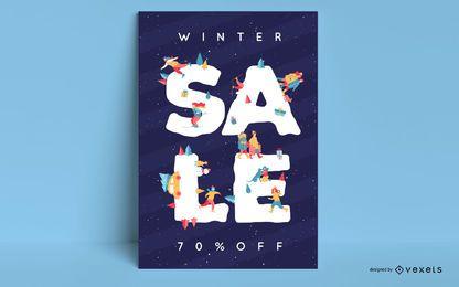 Cartel editable de venta de invierno