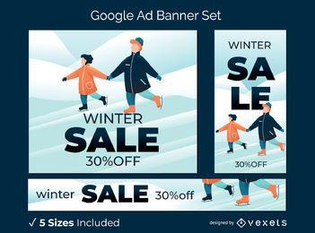 Conjunto de banner publicitario de rebajas de invierno