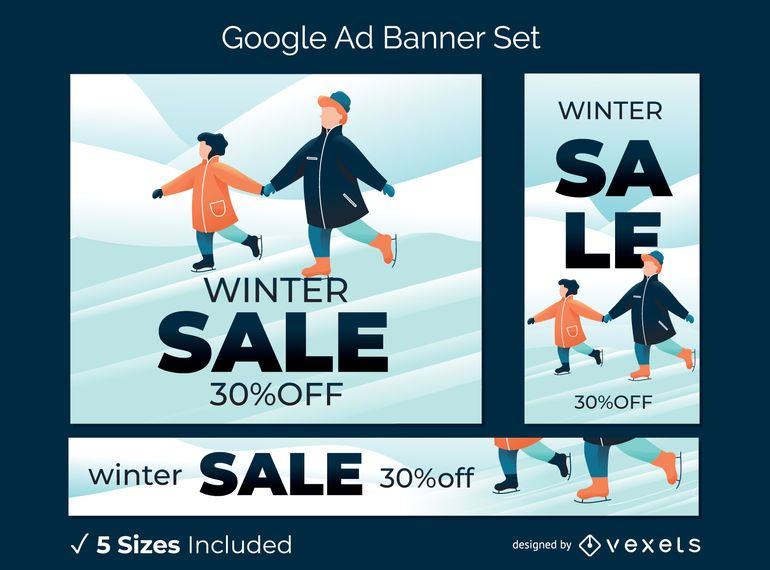 Winter sale ad banner set