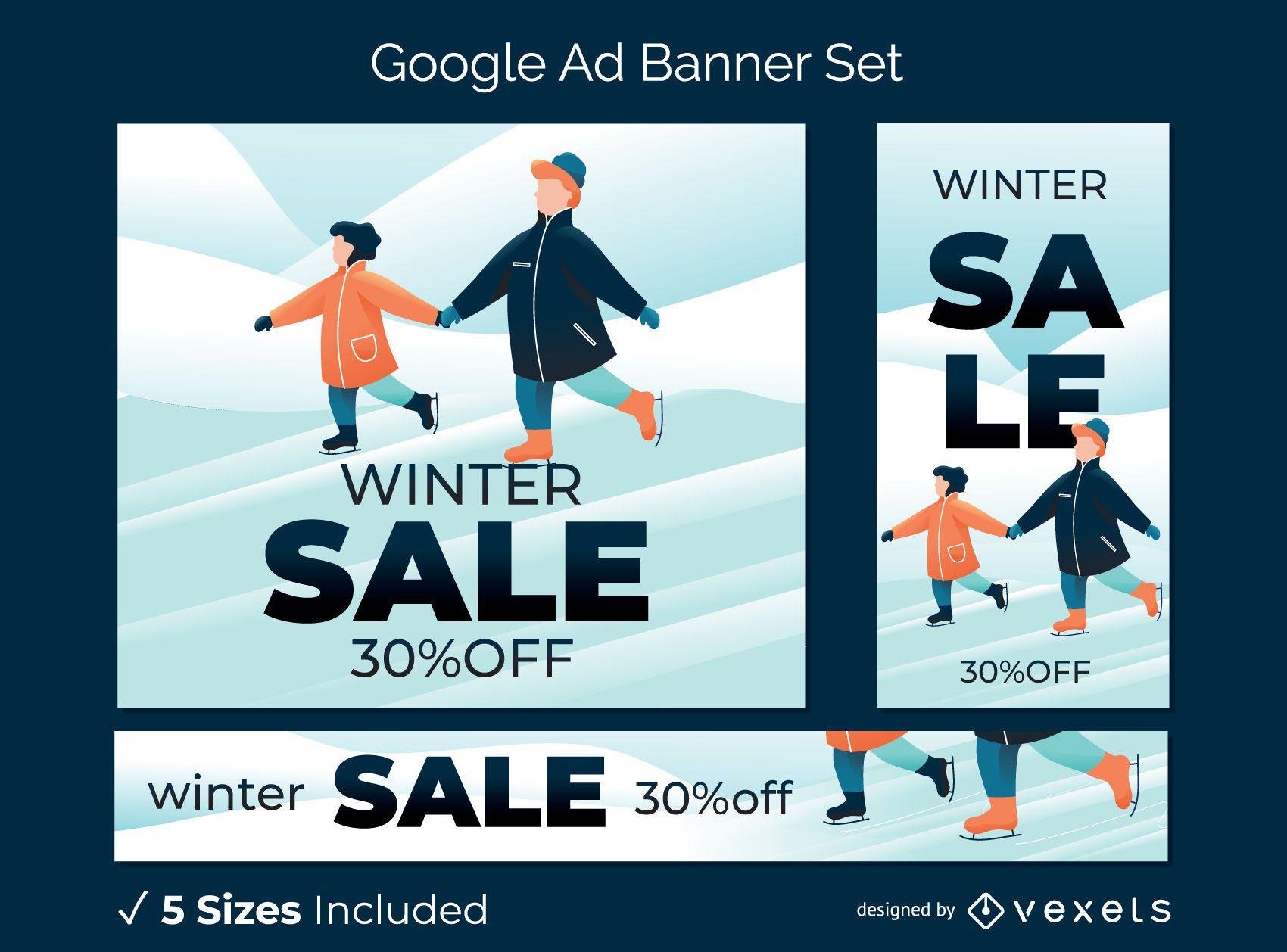 Conjunto de banner de anuncio de venta de invierno