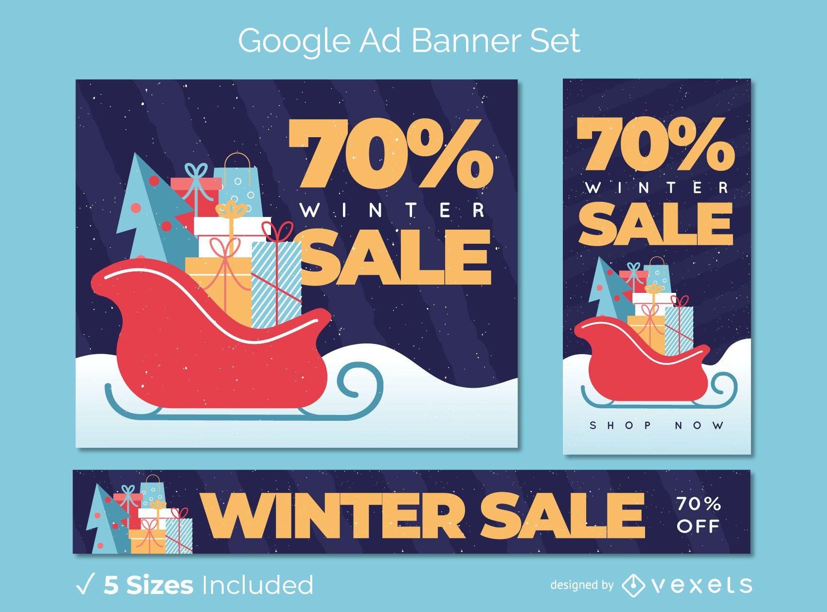Conjunto de banner de anuncio de regalos de venta de invierno