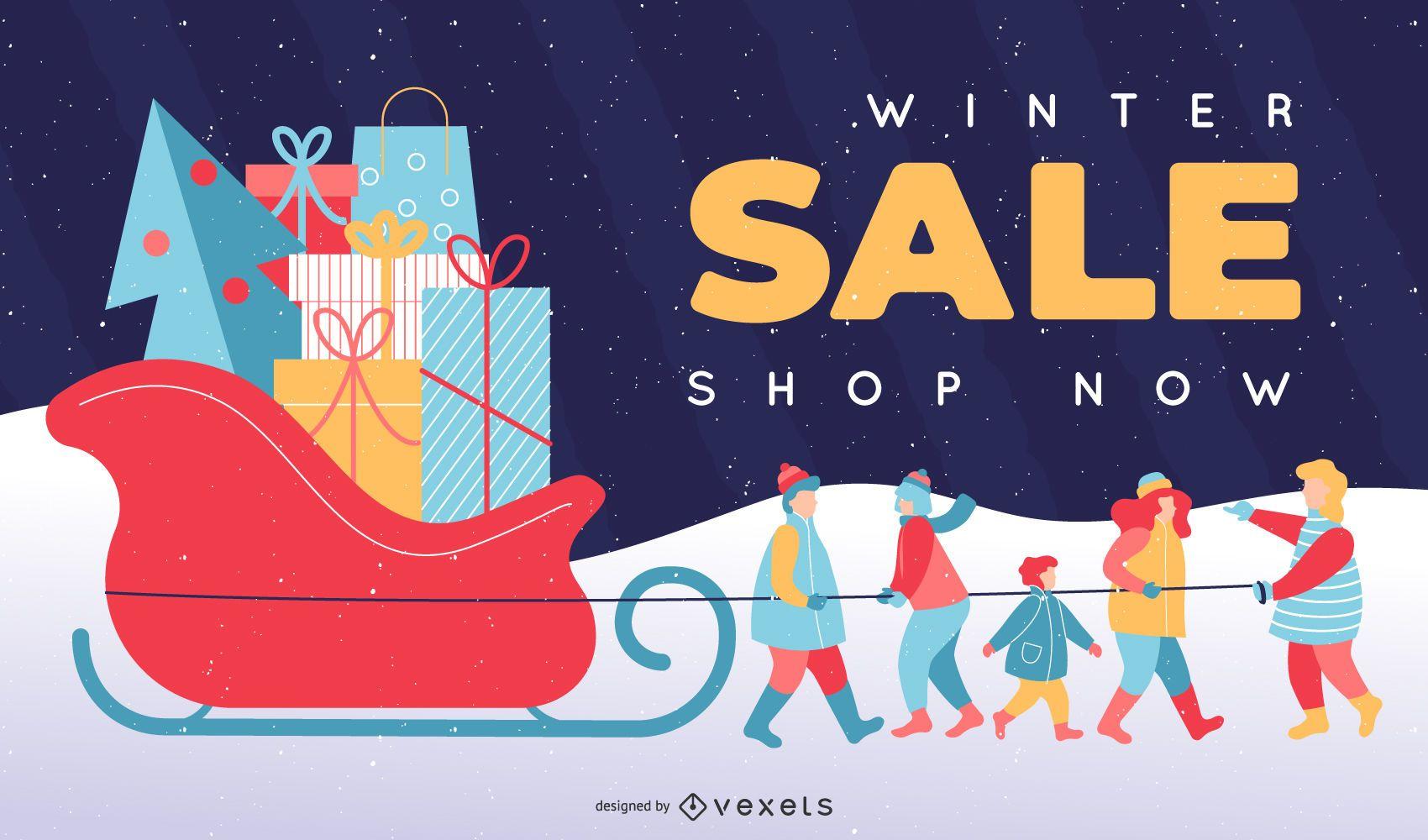 Winter sale gifts editable slide