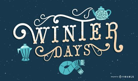 Winter days lettering design