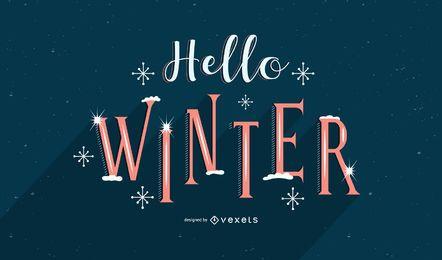 Hola diseño de letras de nieve de invierno