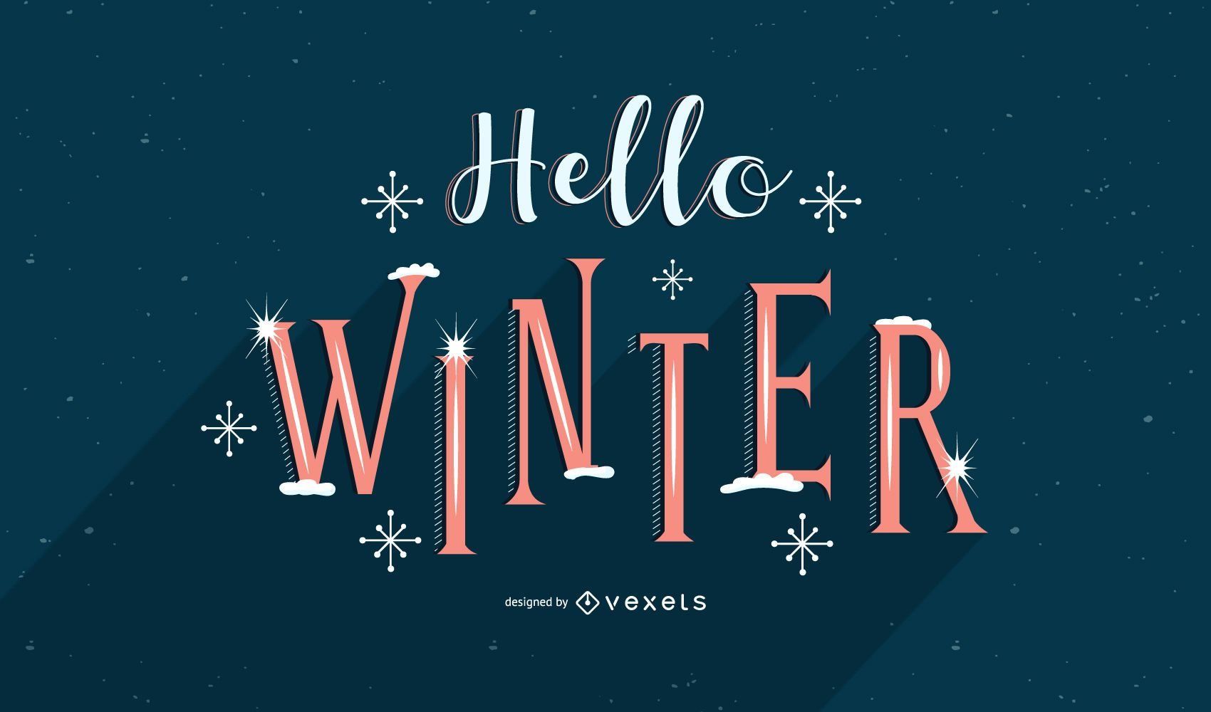 Hello winter snow lettering design