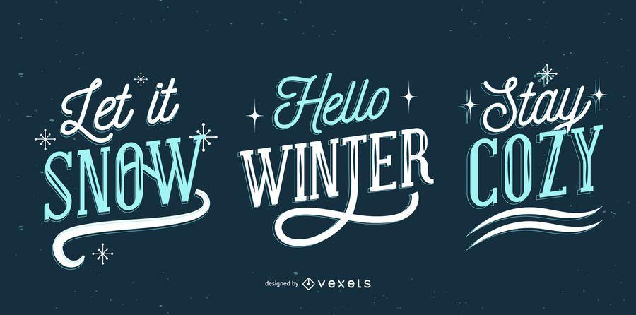 Conjunto de letras de inverno