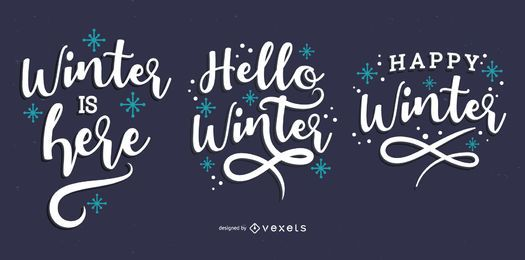 Hello winter lettering set