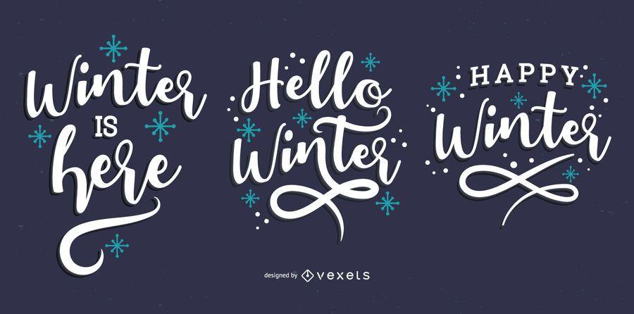 Hello winter lettering set