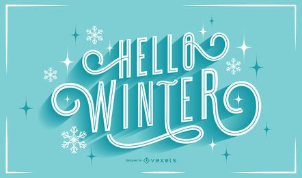 Hello winter snowflakes lettering