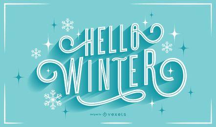 Hola letras de copos de nieve de invierno