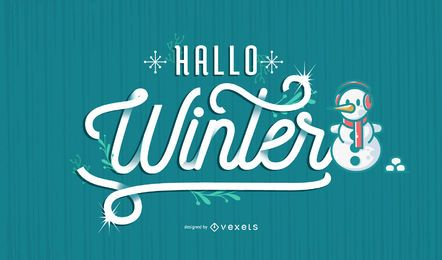 Hallo winter german lettering