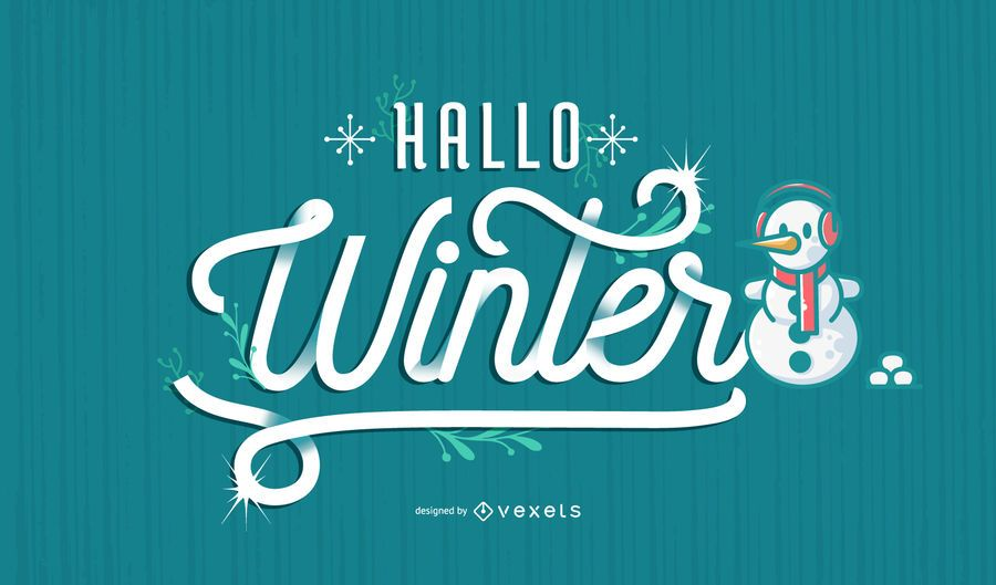 Hallo winter german lettering